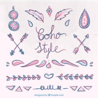 Hand drawn beautiful boho ornaments