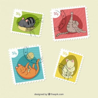 Hand drawn beautiful cat stamps