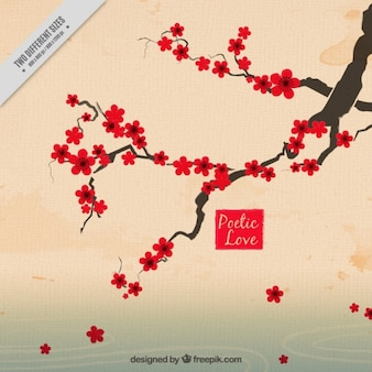 Hand drawn beautiful cherry tree