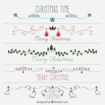 Hand drawn beautiful decorative christmas borders