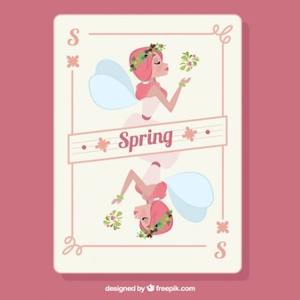Hand drawn beautiful fairy spring card