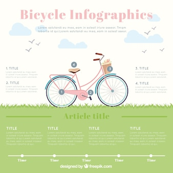 Hand drawn beautiful infographic with bike and grass
