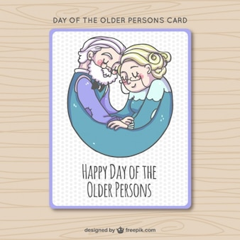 Hand drawn beautiful older people card
