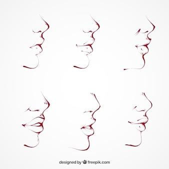 Hand-drawn beautiful profiles