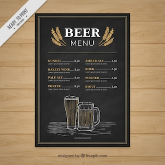 Hand drawn beer menu in vintage style