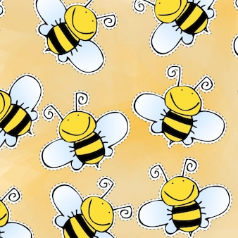 Hand drawn bees pattern