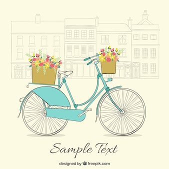 Hand drawn bicycle vintage background with cute baskets