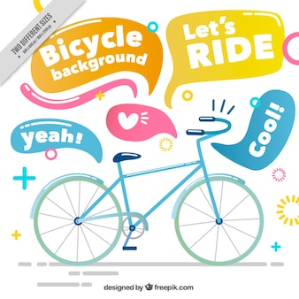 Hand drawn bicycle with speech bubbles background