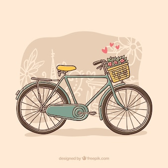 Hand drawn bike with flowers and hearts