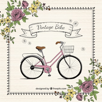 Hand drawn bike with flowers vintage background
