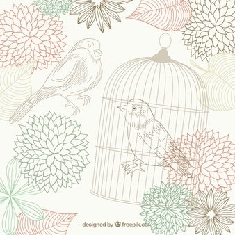 Hand drawn birds, flowers and a bird cage