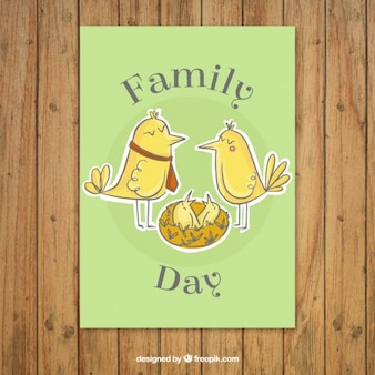 Hand drawn birds with a nest family card