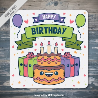Hand drawn birthday card with cake and gifts