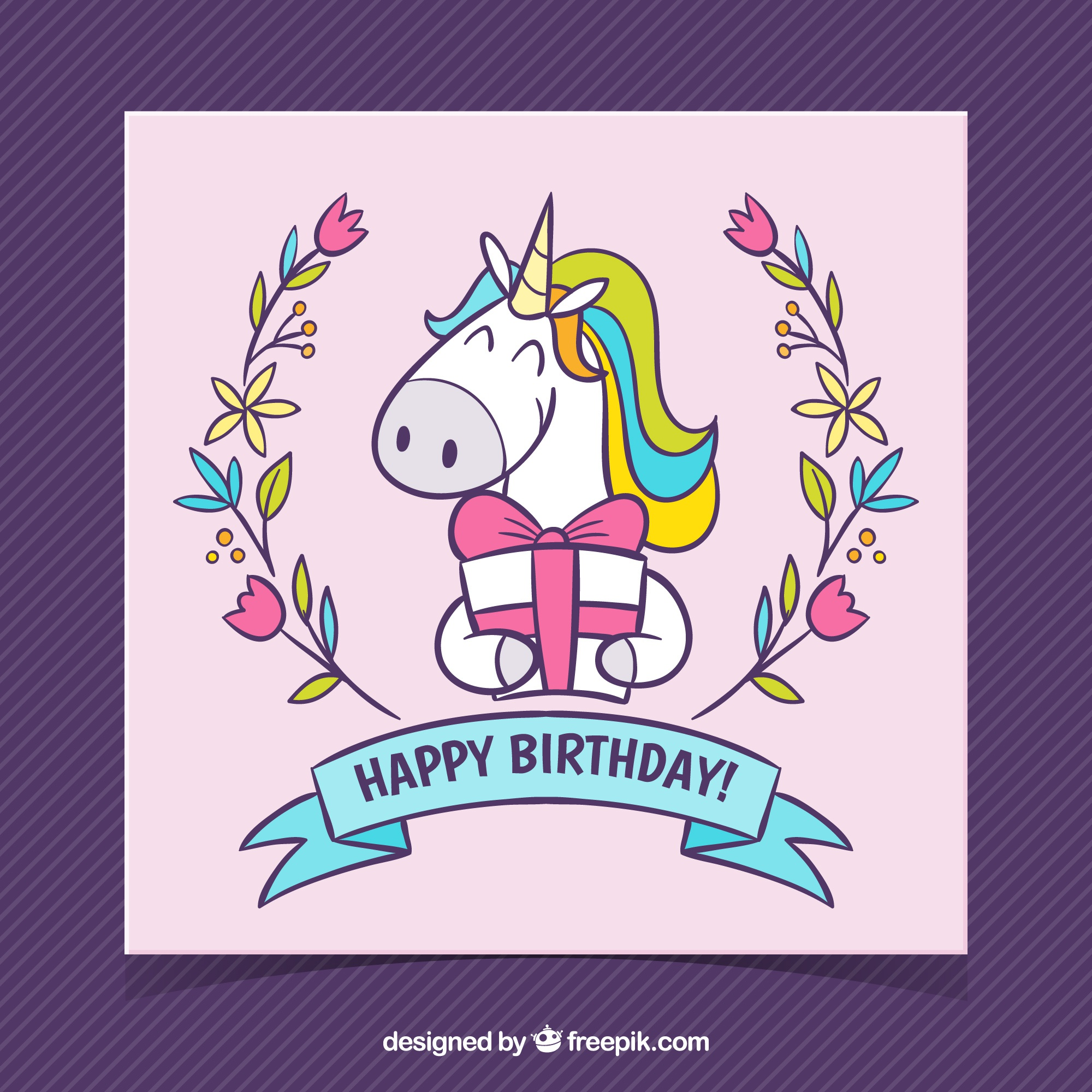 Hand drawn birthday card with unicorn and gift box