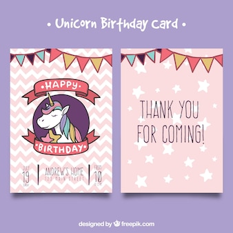 Hand drawn birthday card with unicorn face