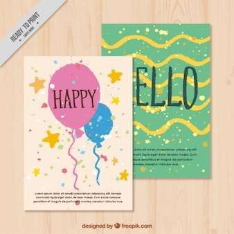 Hand-drawn birthday cards with balloons and confetti
