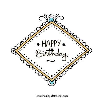 Hand drawn birthday label background