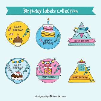 Hand drawn birthday labels collection