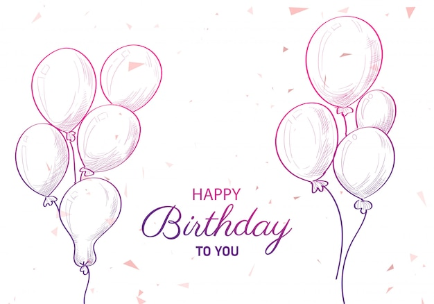 Hand drawn birthday with balloons sketch background