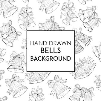 Hand Drawn Black & White Bells Background
