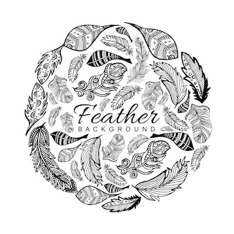 Hand Drawn Black & White Feather Background