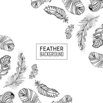 Hand Drawn Black & White Feather Background