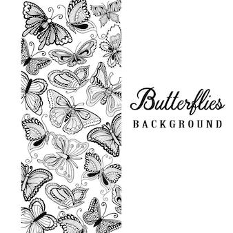 手描きの黒と白の蝶の背景