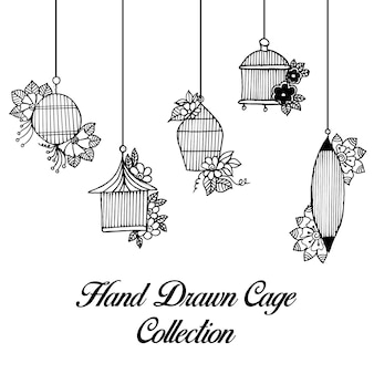 Hand drawn black and white cages