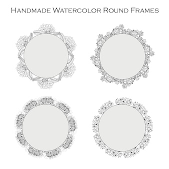 Hand drawn black and white circular floral Frames collection
