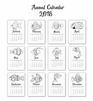 Hand drawn black and white fishes calendar 2018