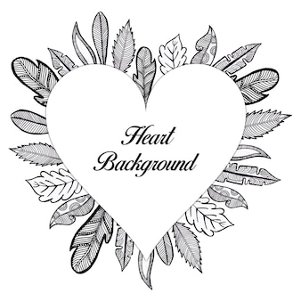Hand Drawn Black and White Floral Heart Background
