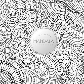 Hand Drawn Black and White Floral Mandala Pattern Background