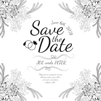 Hand Drawn Black and White Floral Wedding Invitaion Card