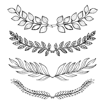 手描きの白黒の葉のコレクション
