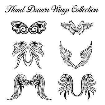 手描きの黒と白の翼コレクション