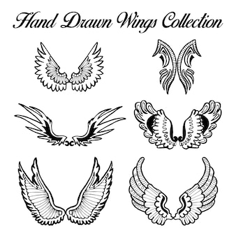 Hand Drawn Black and White Wings Collection