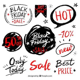 Hand-drawn black friday stickers collection