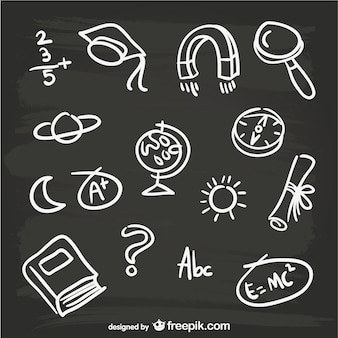 Hand-drawn blackboard elements