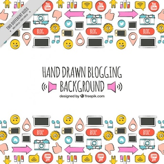 Hand drawn blog elements, full color
