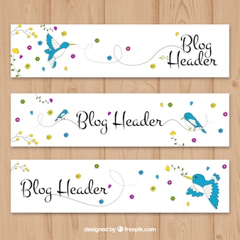 Hand drawn blog header with bird and flowers
