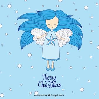 Hand drawn blue angel card
