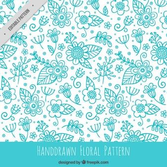 Hand drawn blue floral pattern