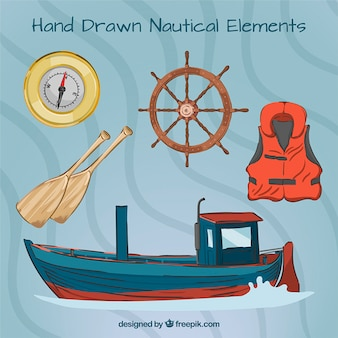 Hand drawn boat with salor elements