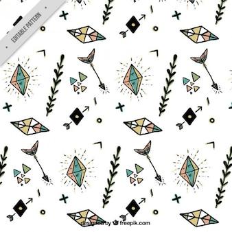 Hand drawn boho elements with diamonds pattern