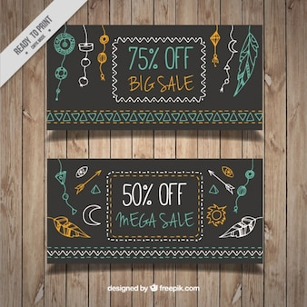 Hand drawn boho ornaments sale banners