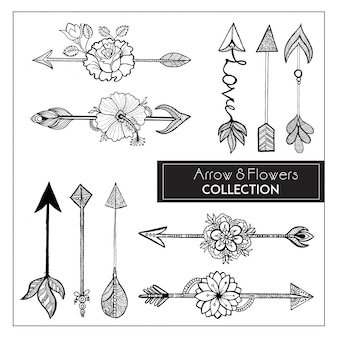 Hand Drawn Boho Style Arrows & Flowers Collection