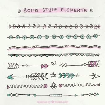 Hand drawn boho style borders pack