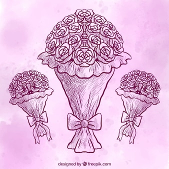Hand-drawn bouquets with purple background