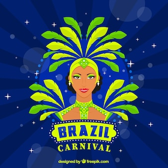 Hand drawn brazilian dancer background
