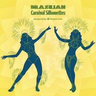 Hand drawn brazilian dancers silhouettes